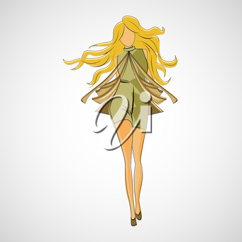 Vector sketch girl in fashion clothes eps.