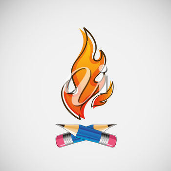 The fire, which burn pencils. Vector design.