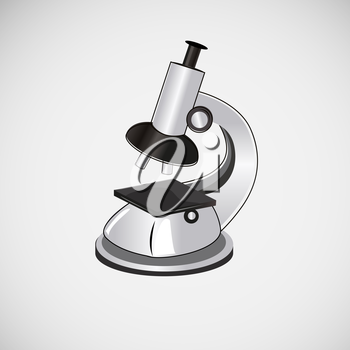 Isolated vector microscope on a light background.