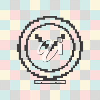 Vector pixel icon clock on a square background.