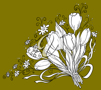 Flowers tulips, holiday bouquet, vector, monochrome contour