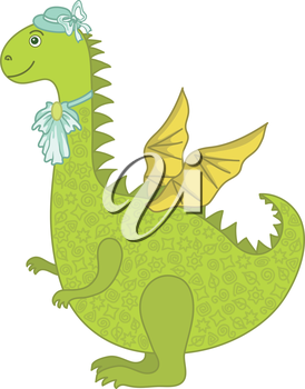 Symbol of holiday East New Years dragon - a woman in a hat with a jabot. Vector