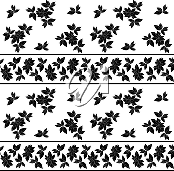 Seamless floral pattern: leaves, plants and lines, black silhouettes on white background. Vector