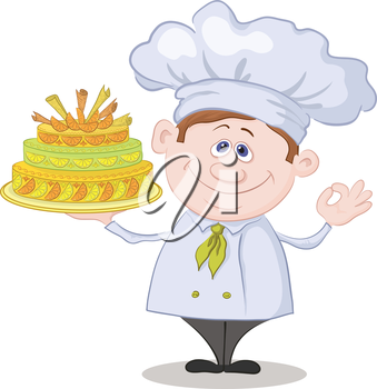 Cartoon cook - chef with sweet holiday cake, isolated on white background. Vector