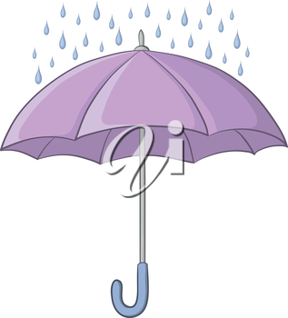 Lilac umbrella and blue rain drops isolated on white background. Vector
