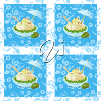 Seamless Background, Cup with Ice Cream, Kiwi Fruit, Waffles, Umbrellas and Almond Nuts on Abstract Blue Floral Pattern with a White Square Frames. Eps10, Contains Transparencies. Vector