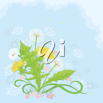 Dandelions and symbolical summer flowers on background of blue sky and white clouds. Vector