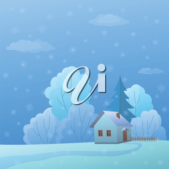 Cartoon winter landscape: country house in forest near to trees. Vector