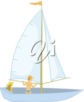 Sailing boat with a man and a woman, isolated on white. Vector illustration