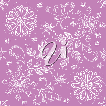 Abstract floral seamless background, symbolical outline flowers. Vector