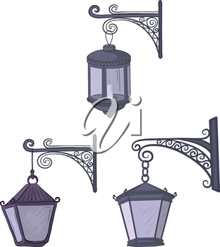 Set vintage street non-luminous lanterns with extinct candles, hanging on a decorative brackets. Vector