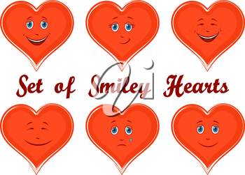 Set Valentine Holiday Symbols, Red Cartoon Hearts, Faces with Different Emotions, Funny and Sad, Laughing and Weeping, Isolated on White Background. Vector
