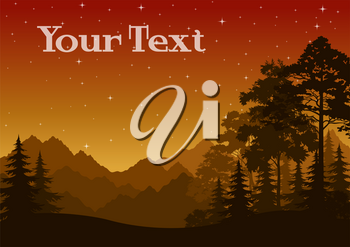 Night Landscape, Mountains and Forest, Coniferous and Deciduous Trees Silhouettes, Orange Sky with Stars. Vector