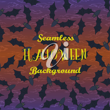 Seamless Halloween Holiday Pattern, Bats Fly in the Night Sky. Vector