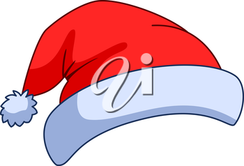 Hat of the Santa Claus, Christmas red cap with a pompon. Vector