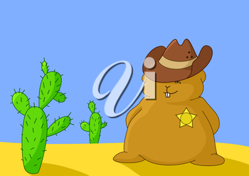 The marmot sheriff in a hat stands in desert near a cactus similar to the person