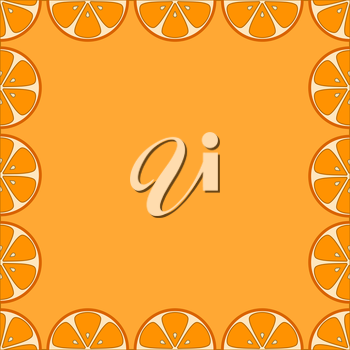Abstract background, frame from fruits, segments of oranges. Vector