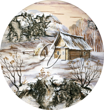 Drawing distemper on a birch bark: small house in wood