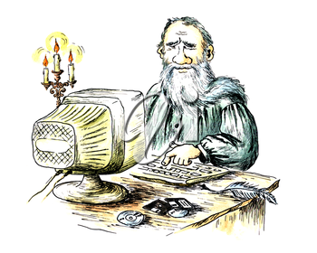 Comic water-colour drawing: the ancient writer behind the computer