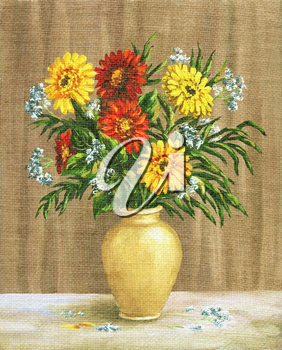 Picture Oil Painting on a Canvas, a Bouquet of Marigold in a Ceramic Pot