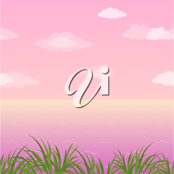 Sea landscape, horizontal seamless, green grass and pink morning sky with clouds. Eps10, contains transparencies. Vector