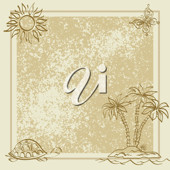 Exotic background. Contour palm, sun, butterfly, turtle, frame and grunge pattern. Vector