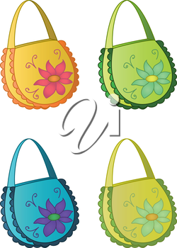 Female multi-coloured handbags with a flower pattern, set