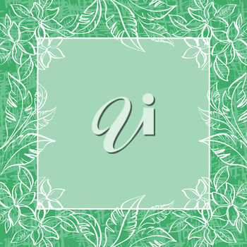 Abstract background, pattern, frame of outline plumeria flowers and leaves. Vector