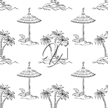 Seamless pattern, contours. Sea island with palm trees and canopy. Vector