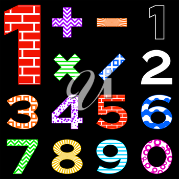Number set, from 1 to 9, different pattern, illustration isolated on black. Vector