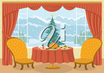 Christmas holiday background, Room with two chairs and dining table with festive meals on platters in front of the window with fir tree and winter mountain view, cartoon illustration. Eps10, contains