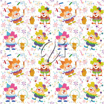 Seamless Background with Cheerful Circus Clowns, Juggling Balls and Candies and Training Dogs. Holiday Illustration with Funny Cartoon Characters on White, Colorful Stars and Streamers. Vector