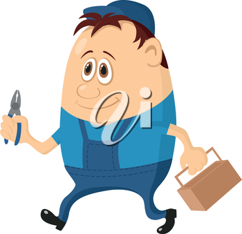 Worker, cartoon character, man in blue uniform and cap with pliers and toolbox. Vector