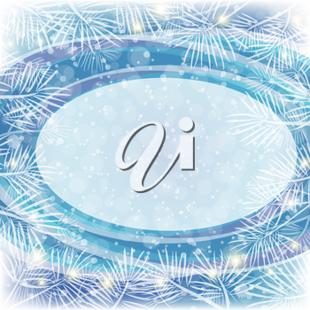 Christmas Blue Background for Holiday Design with Oval Frame, Flashes and White Pine Branches. Eps10, Contains Transparencies. Vector