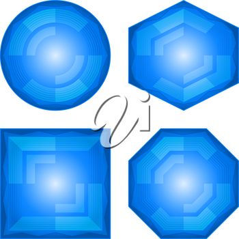 Set blue icons, computer buttons different forms, vector eps10, contains transparencies