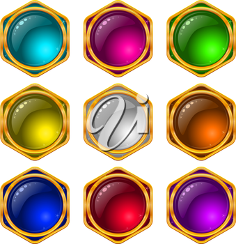 Set of web buttons with gems and golden frames