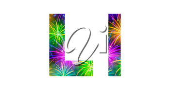 Set of English letters signs uppercase and lowercase L, stylized colorful holiday firework with stars and flares, elements for web design. Eps10, contains transparencies. Vector