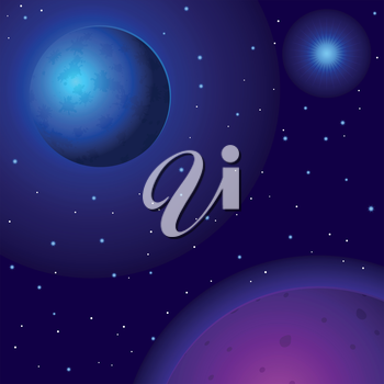 Fantastic background, space, planets, sun and stars. Vector