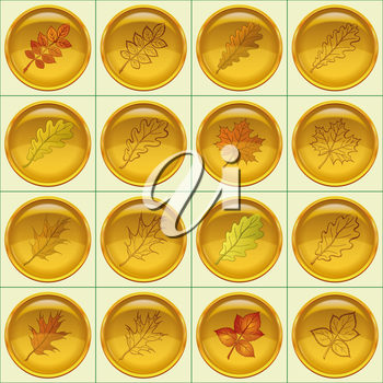Set of yellow round buttons with autumn leaves and pictograms, dogrose, oak, raspberry, oak iberian, maple. Eps10, contains transparencies. Vector
