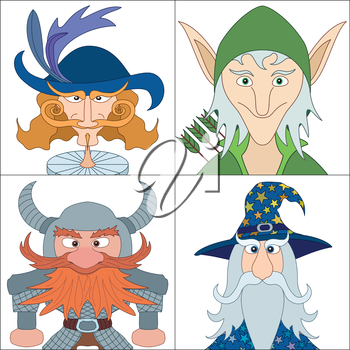 Avatar faces of fantasy brave heroes: elf, dwarf, wizard and noble cavalier, funny comic cartoon user icons, set. Vector