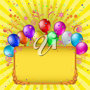 Vector: frame, coloured balloons and confetti on gold background with beams