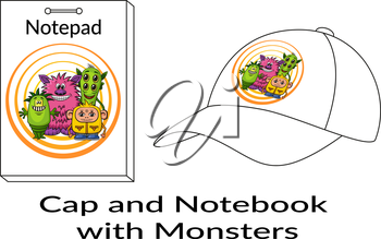 Group of Funny Colorful Cartoon Characters, Different Monsters, Elements for your Design, Prints and Banners, Presented in Sample Forms, Notebook and Cap, Isolated on White Background. Vector
