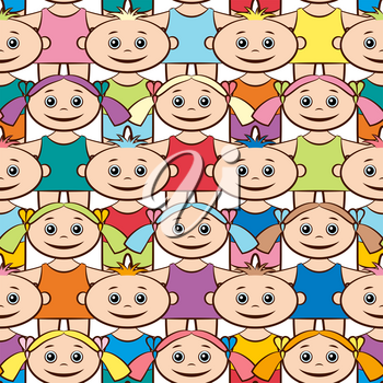 Seamless Background with Happy Cartoon Children, Funny Little Boys and Girls in Bright Clothes, Standing with Arms Wide Open and Smiling, Tile Pattern for your Design. Vector