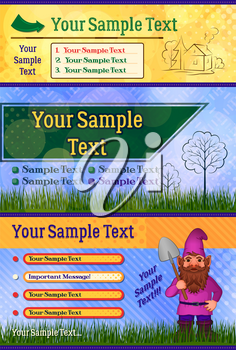 Garden Background, Country Flyer. Business Poster Pamphlet Brochure Cover Design Layout Template with Garden Gnome, House, Trees and Green Grass. Vector