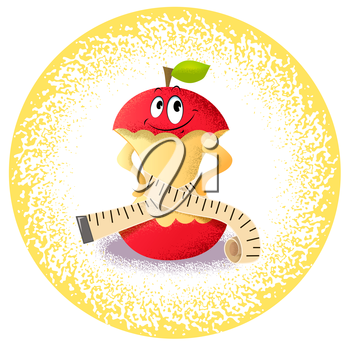 Icon apple with measuring tape