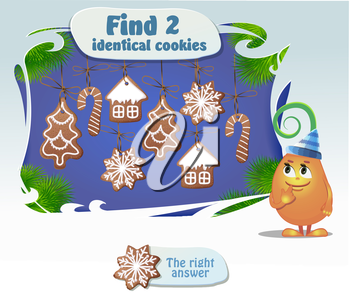 Visual Game for children. Task: Find 2 identical cookies