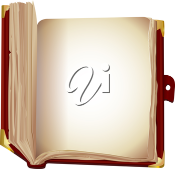 illustration of an old book in brown cover  on a white background