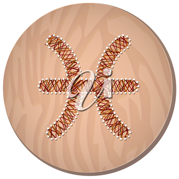 Pisces zodiac sign in circular frame, vector Illustration, made in the form of filaments. Icon on a wooden background