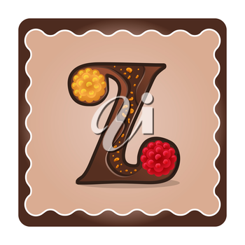 Cards for children for learning the alphabet. Letter z as chocolate, in the form of candies and cakes . Vector Illustration