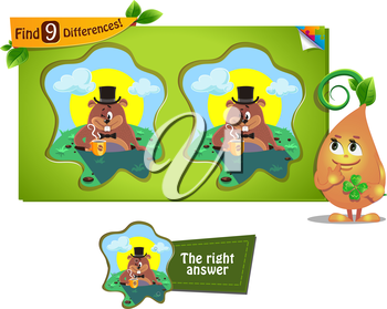 visual game for children and adults. Task to find 9 differences Groundhog day